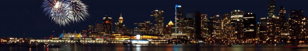 Vancouver, die Hauptstadt von British Columbia, bei Nacht.