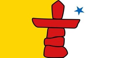 Die Flagge von Nunavut ist gelb-weiß gespalten, mit einem roten Inuksuk in der Mitte.