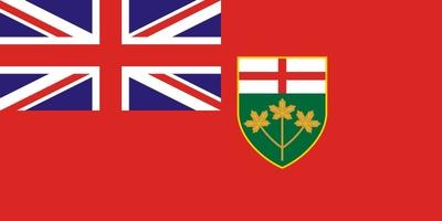 Die Flagge von Ontario ist eine abgewandelte Red Ensign, mit der Union Flag im Gösch und dem Ontario-Wappen im Flugteil.