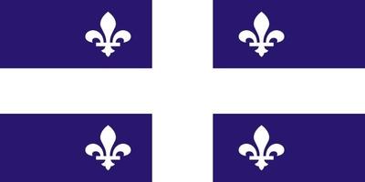 Die Flagge von Quebec zeigt auf blauem Grund ein weißes Kreuz, mit je einer weißen fleur de lys in den vier Quadranten.
