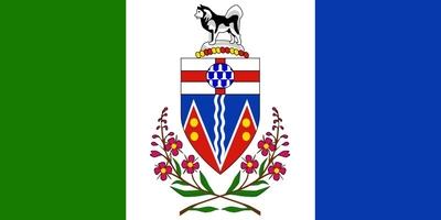 Die Flagge von Yukon zeigt eine grün-weiß-blaue Trikolore mit dem Territorialwappen im mittleren weißen Feld über zwei sich kreuzenden schmalblättrigen Weidenröschen.